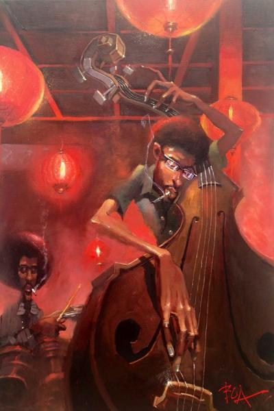 justin bua bass player painting